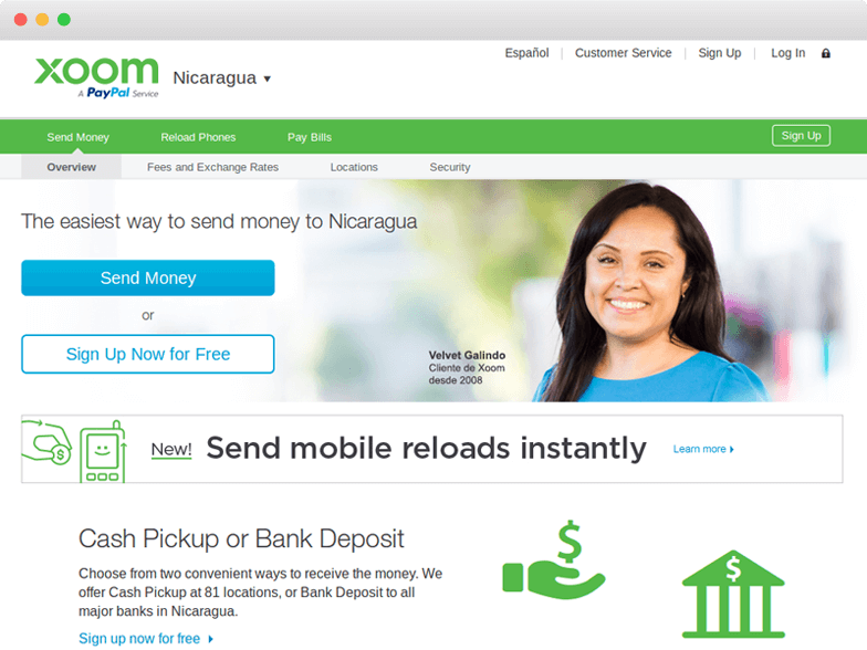 Log in  Xoom  a PayPal Service